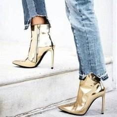 shoes tumblr gold boots high heels boots pointed boots ankle boots pointed toe boots gold shoes metallic shoes metallic boots frayed denim frayed jeans cropped jeans