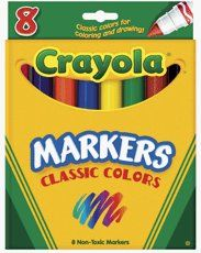 Crayola Broad Line Markers, Classic Colors - 8 Count by BINNEY & SMITH CO.. $2.94. SKU NUMBER: 422816The Mininimum EXP date on product: 1year.TITLE DESCRIPTION: Crayola Broad Line Markers, Classic Colors - 8 Count.MANUFACTURER:BINNEY & SMITH CO.PRODUCT DESCRIPTION:Crayola 8 ct. Broad Line Markers offer 8 classic colors that are terrific for drawing and coloring. All Crayola art materials are non-toxic. Brilliant Colors Perfect for Drawing and Coloring. Colors includ...