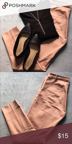 H&M Blush Tapered Slacks Silky blush-colored slacks from H&M that are perfect for spring! Side zipper on the left and tapered fit that ends just above the ankle. Worn twice, but it looks too close to my skin color for comfort 😅 H&M Pants Trousers