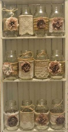 Neutral jar decor for centerpieces Bridal Shower Tables, Bridal Shower Rustic, Bridal Shower Decorations, Burlap Mason Jars, Mason Jar Crafts, Mason Jar Diy, Wedding Centerpieces Mason Jars, Rustic Wedding Centerpieces, Burlap Centerpieces
