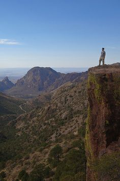 Solo Hiker on the Lost Mine Trail, Big Bend National Park, Texas
