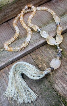 Citrine Mala Necklace by look4treasures.etsy.com   Like this. I want to make some tassel necklaces