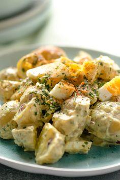 Cremiger Curry Kartoffelsalat mit Joghurt Dressing