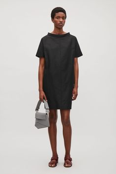Dress with folded collar - Black - Sale - COS GB