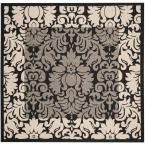 Courtyard Black/Sand (Black/Brown) 6 ft. 7 in. x 6 ft. 7 in. Indoor/Outdoor Square Area Rug
