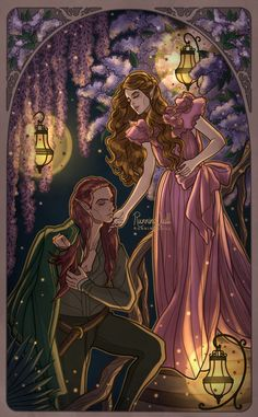 RunningQuill-Art - Elain and Lucien A Court Of Wings And Ruin, A Court Of Mist And Fury, Fanart, Feyre And Rhysand, Sarah J Maas Books, Sara J Maas, Crescent City, Throne Of Glass Series, Book Characters