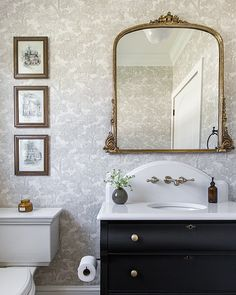 "Brewster Home Fashions on Instagram: ""Looking to style a chic powder room? Our Blyth wallpaper has a French country design with classic details that achieves that style goal!…"""