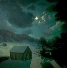 Winter Moonrise, Yorkshire by Algernon Cecil Newton Date painted: 1945