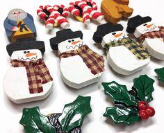 Christmas Destash Snow Men Holly by supplysideeconomics on Etsy