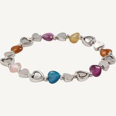 Plenty of glamour and a little bit of stretch- this is the easiest pop-on bracelet you'll ever own. It comes with lots of coloured hearts to add a romantic finish to your look. Heart Bracelet, Turquoise Bracelet, Things To Come, Hearts, Beaded Bracelets, Romantic, Glamour, Pop, Nice