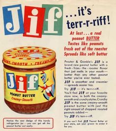 The original Creamy and Crunchy style Jif peanut butters both debuted in 1958. Is that a kangaroo?
