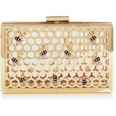 Bee Clutch Bag ($80) ❤ liked on Polyvore featuring bags, handbags, clutches, gold purse, gold handbag, honey comb, gold clutches and beige purse