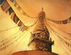 Watercolor painting of Eyes of Buddha painted on Swayambhunath Stupa at sunset in the Kathmandu Valley, Nepal Original painting (11x15)- Please