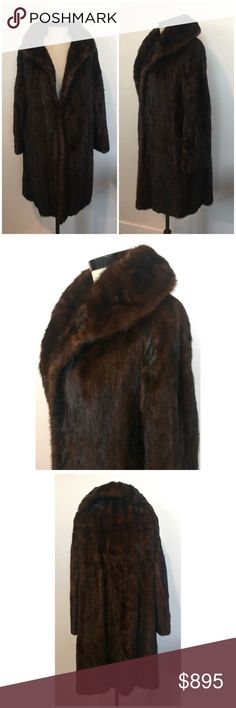 """Vintage Full Canadian Sable Coat Size M c. 1950 This is a BEAUTIFUL Canadian Sable coat both inside and out! With gorgeousdecorativestitching and velvet work on the lining. It's in excellent condition 9.5/10. The silver tips of the fur reflect the light. Being sable fur, the coat weighs less than a mink or rabbit coat.Please see photos. One clasp in the front. No holes, rips, or stains. Shoulder seam to shoulder: 19""""Bust: 21""""Base of back collar to hem: 38""""Underarm to hem: 28""""Shoulder…"""