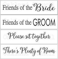 Wedding STENCILFriends of the Bride/GroomSet of by OaklandStencil