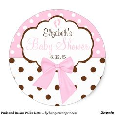 Pink and Brown Polka Dots-Baby Shower Classic Round Sticker