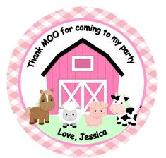 12 Personalized Pink Girl Farm Barn Animal Old McDonald Baby Shower or Birthday Party Favor Tags on Etsy, $9.00