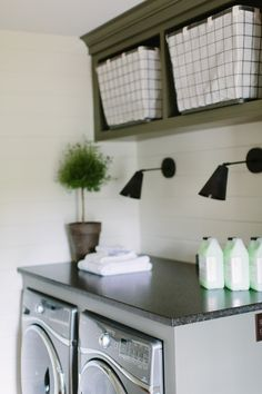 Laundry Room Countertop. Laundry Room Countertop Ideas. Countertop on top of machines in laundry room. #LaundryRoom #Countertop Kate Marker Interiors.