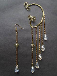 Drop Ear Cuff No Piercing Long Ear Cuffs Black Ear Cuff silver Ear Cuff gold Ear Cuff Wire Jewelry Wire wrapped ear cuffs - Ohrschmuck Ear Jewelry, Cute Jewelry, Jewelery, Jewelry Making, Skull Jewelry, Hippie Jewelry, Gold Jewelry, Wire Ear Cuffs, Elf Ear Cuff