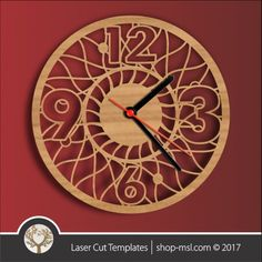 Online template store, free Vector patterns every day. Wall Clock Template, Wall Clock Vector, Clock Wall, Laser Cut Box, Laser Cutting, Wood Cutting, Cutting Boards, Free Vector Patterns, Wall Patterns