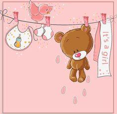 Invitación Baby Shower niña de oso