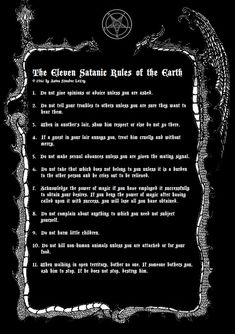 "dblackthorne:"" "" The Nine Satanic Statements, The Nine Satanic Sins, The Eleven Satanic Rules of The Earth; Anton Szandor LaVey. Illustrations by Draconis Blackthorne. "" """