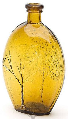 Flask; Pictorial, GX-019, Summer Tree & Winter Tree, Baltimore, Yellowish Amber, Quart.