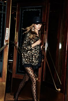 Vogue Paris for H&M Christmas party edit black hat print jacket dot stockings