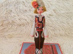 FREE SHIPPING in the U.S.A.!Traditional Bulgarian Folk Doll. Ethnic European Art Doll.Wooden Dressed Man Doll. Handcrafted Collectible Doll.