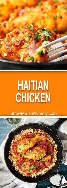Haitian Chicken Recipe - Show Me the Yummy Haitian Chicken Recipe, Haitian Food Recipes, Chicken Recipes, Haitian Spaghetti Recipe, Chicken Creole Recipe, Chicken Meals, New Recipes, Dinner Recipes, Cooking Recipes