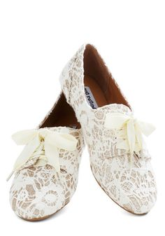 Just a Glitter Bit Flat - White, Solid, Lace, Glitter, Fairytale, Flat, Casual, Daytime Party, Bride