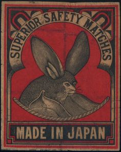 8d Old Packet Matchbox Label Japan China Auspicious Bat Safety Match