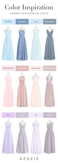 Summer Wedding Color Inspiration Summer weddings usually sport the brightest, boldest color palettes—and for good … Summer Wedding Decorations, Summer Wedding Colors, Summer Weddings, Purple Bridesmaid Dresses, Blue Bridesmaids, Azazie Bridesmaid, Bridesmaid Ideas, Wedding Dress Types, Long Wedding Dresses