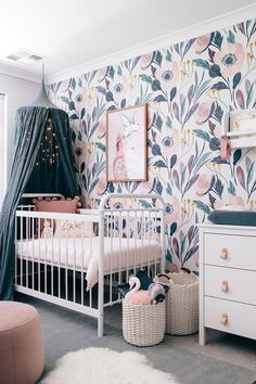 Turn any room into a garden with floral wallpaper and wall decals from our shop. Flower nursery wallpaper features vintage flair, bold designs and sweet colors. Baby Crib Designs, Baby Room Design, Nursery Design, Nursery Decor, Project Nursery, Nursery Themes, Girl Nursery, Bedroom Decor, Nursery Wallpaper