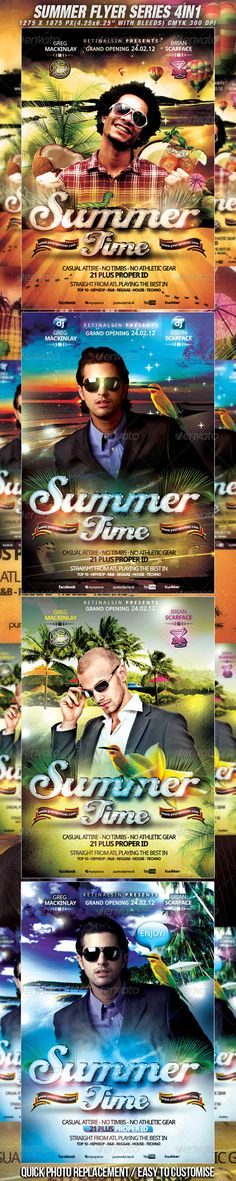 Summer Flyer Series  4in1 / High Quality — Photoshop PSD #summer poster #psd flyer template • Available here → https://graphicriver.net/item/summer-flyer-series-4in1-high-quality/2320821?ref=pxcr