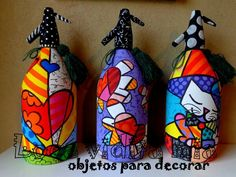 Sifones pintados x Loca Vidita Mía Painted Glass Bottles, Recycled Glass Bottles, Bottle Painting, Bottle Art, Soda, Simple Acrylic Paintings, Arts And Crafts, Diy Crafts, Crafts To Make And Sell