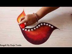 Very Easy & Beautiful Diya Rangoli For Diwali - Aakanksha Lad Easy Rangoli Designs Videos, Easy Rangoli Designs Diwali, Diya Rangoli, Rangoli Simple, Rangoli Designs Flower, Rangoli Designs Latest, Small Rangoli Design, Colorful Rangoli Designs, Rangoli Patterns