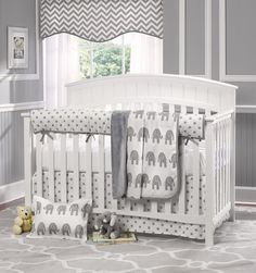 Gray Elephants 4 pc. Baby Bedding Set with Rail Cover – Liz and Roo Fine Baby Bedding