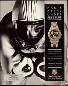 Tag Heuer Watch 1993 Print AD for sale online Tag Heuer, Vintage Prints, Vintage Photos, Old Ads, Under Pressure, Stamp Collecting, Print Ads, 1990s, Advertising