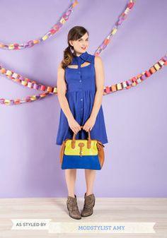 A Peek of Blue Dress, #ModCloth