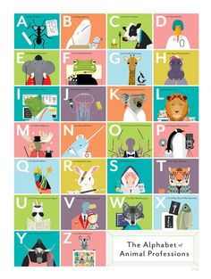 The Alphabet of Animal Professions by PopChartLab on Etsy