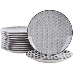Porcelaine Noir Pâtes Bol diamètre 23 cm-rond assiette de service plat vaisselle