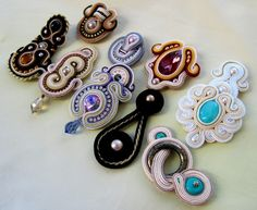 Aurus: soutache love the swirls on the white one, colors on the purple one and the ring on the bottom right