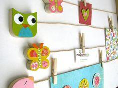 Owl Art Display Clips, Green and Blue, Owl Kids Decor, Owl Decor, eco-friendly Paper Owls, Paper Art, Owl Art, Bird Art, Maple Shade, Owl Kids, Artwork Display, Display Photos, Kids Artwork