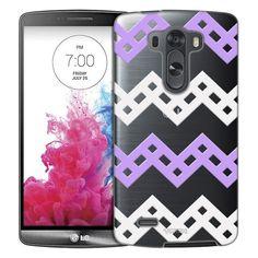LG G3 Purple and White Square Chevron Pattern Case