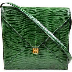 Pre-Owned Vintage Hermes Green Lizard Leather Marigny Envelope Clutch