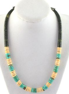 Old Pawn Southwestern Tribal Sterling Turquoise Heishi Jasper Necklace  #Unbranded