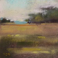Contemporary Abstracted Landscape 4x4 square Original Pastel Painting Karen…