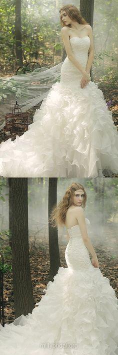 Fashion Wedding Dresses,Trumpet/Mermaid Wedding Dress,Sweetheart Bridal Gowns,Organza Court Train Cascading Ruffles Bridal Dresses