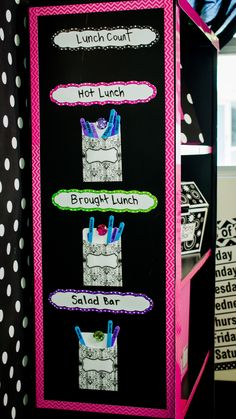 Keep track of Lunch Count using Magnetic Strips, Magnetic Accents, Magnetic Bling Jewels, Craft Sticks and Parisian Library Pockets.